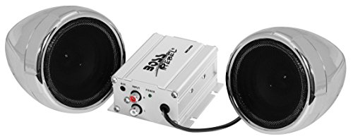 BOSS AUDIO MC400 Chrome 600 watt Motorcycle/ATV Sound System with One Pair of 3 Inch Weather Proof Speakers, Aux Input and Volume Control