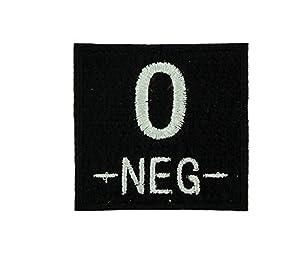 Patch ecusson brodé airsoft tactical militaire groupe sanguin thermocollant noir - O-