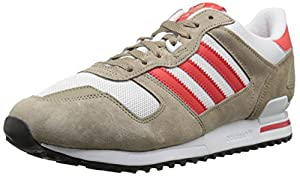 adidas Originals Men's ZX 700 Lifestyle Running Sneaker, Cargo Khaki/Red/White, 9.5 M US