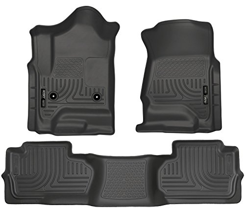 2014-2016 Chevy Silverado 1500 - Husky Liners Weatherbeater Series (Full Set Includes 1st and Second Row Footwell Coverage) - Black (Husky Floor Mats Chevy Silverado compare prices)