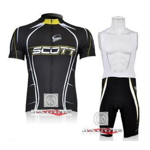 SCOTT Black Bib Short Sleeve Cycling Jerseys Wear Clothes Bicycle/ Bike/ Riding Jerseys + Bib Pants Shorts Size M