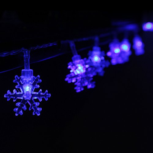 Innootech Led Christmas String Lights 4M 40 Battery Operated Fairy String Lights Snowflake Styled Blue For Xmas, Partys, Wedding, New Year Decorations And Other Celebrations.
