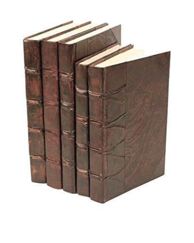 Set of 5 Antique Parchment Books, Brown