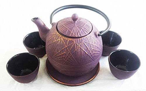 Raspberry Gold Color Cast Iron Tea Set