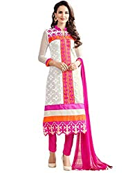 STYLE N DEAL Women's Georgette Unstitchced Dress Material (311D3067_Off-White Pink_Free Size )