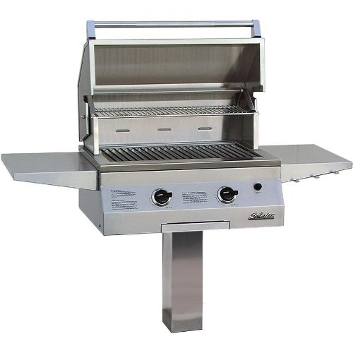 Solaire Gas Grills 27 Inch Deluxe Infravection Natural Gas Grill With One Infrared Burner On In-ground Post