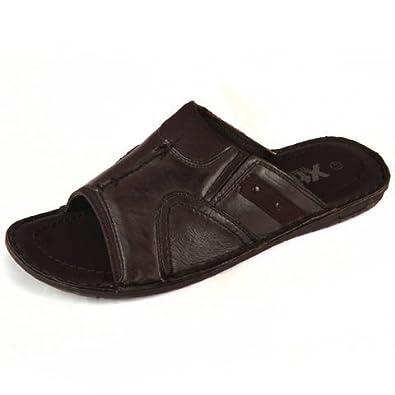 XTI Sandale Confort enfilee pour hommes Tout cuir en Brun 24600 (46