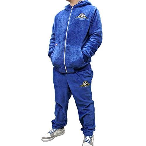 (ネスタブランド) NESTA BRAND ベロア調 モコモコフリース パーカー パンツ 上下セット T1408H&B1401H (L, ブルー)