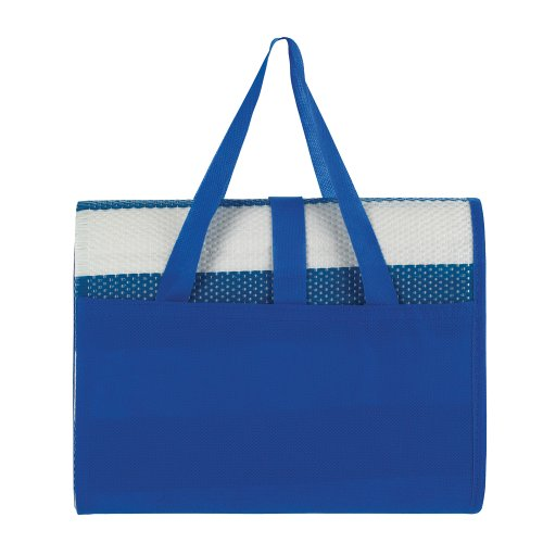 Striped BEACH MAT BAG - Folding Mat & Carry Case - POOL Towel HOLIDAY FESTIVAL (Blue)