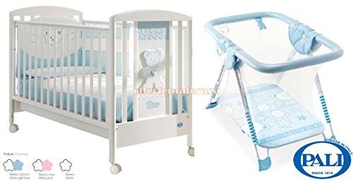 Lettino Pali Loving Bear bianco e azzurro + Box Premium bimbi giochi e nanna