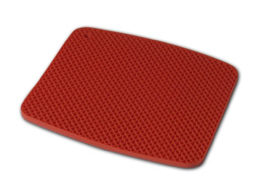 Island Bamboo 40706 Silicone Hot Mat, 9 Inches By 8 Inches, Red front-72621