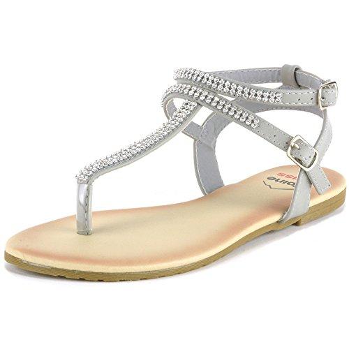 Alpine Swiss Womens Gray Slingback T-Strap Rhinestone Thong Sandals 9 M US