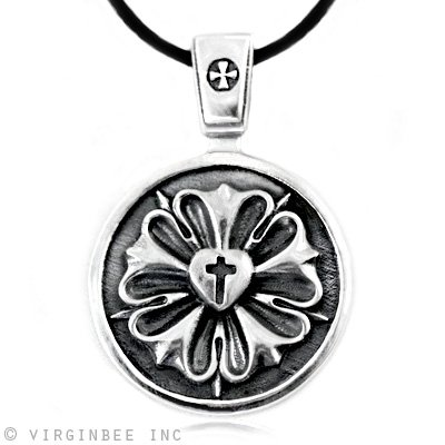 LUTHER ROSE SEAL LUTHERAN CHURCH SYMBOL CHRISTIAN CROSS MEDAL STERLING SILVER CHARM PENDANT NECKLACE