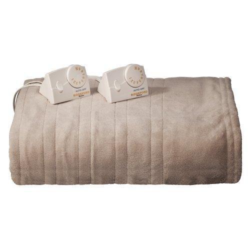 Biddeford Micro Plush Heated Blanket Taupe - Queen