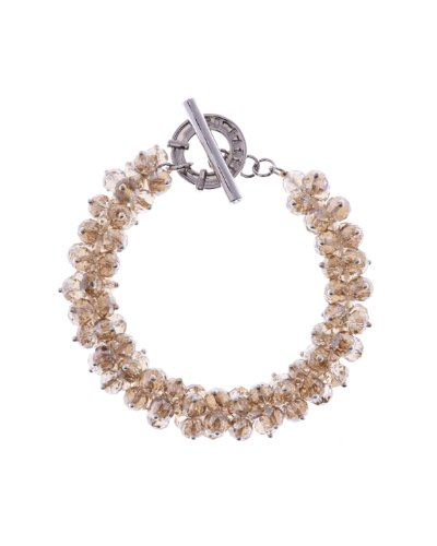 Ted Baker Glitz Light Brown Beaded Cluster T-Bar Bracelet of 19cm