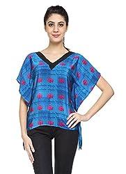 Niriksha Crepe Blue Colour Kimono Top