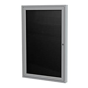"Ghent 36""x24"" 1-Door Satin Aluminum Frame Enclosed Flannel Letterboard - Black - Made in the USA"