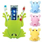 Frog Toothbrush Holder with 4 Suction Cups (Blue)