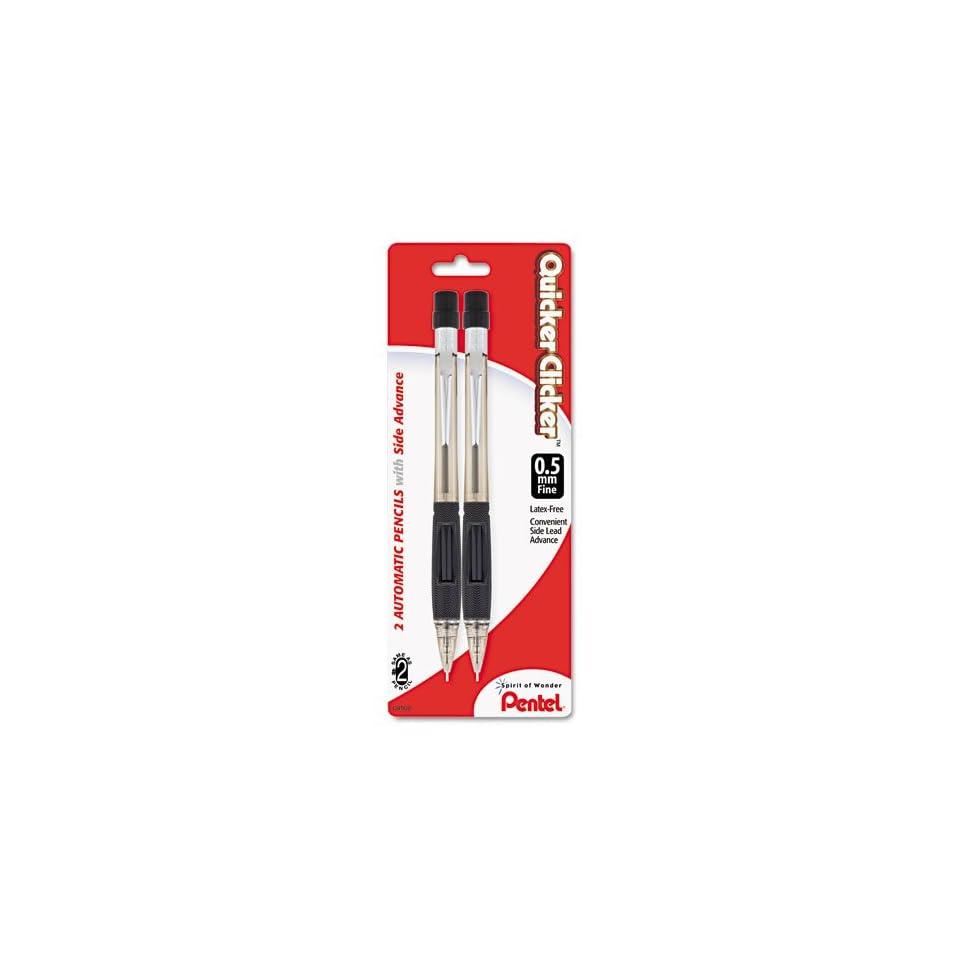 Pentel Quicker Clicker 0.5mm Automatic Pencils, 2 Colored Barrel Mechanical Pencils