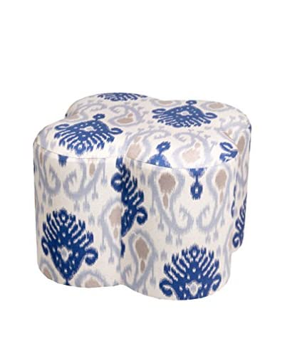 Privilege Clover Shaped Fabric Ottoman, Blue/Beige