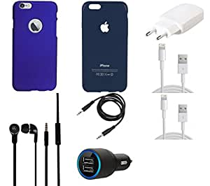 NIROSHA Cover Case Charger Headphone USB Cable for Apple iPhone 6Plus - Combo