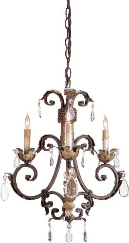 Currey and Company 9559 Venetian/Gold Leaf Arabesque Chandelier, Mini with Customizable Shades