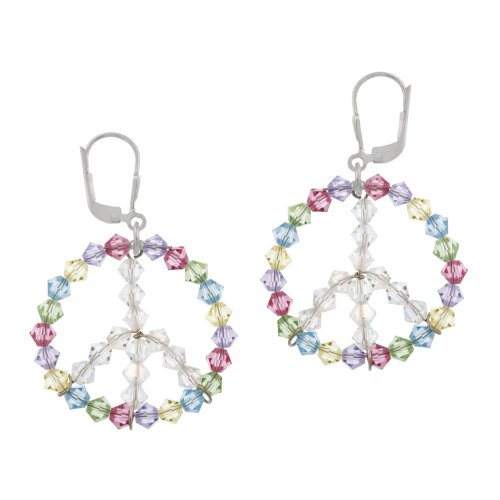 Sterling Silver Swarovski Elements Multi-Colored Circle with Aurorae Boreale Peace-Sign Center Lever Back Earrings