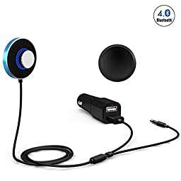 LSoug Bluetooth Receiver for car,Streambot Mini Bluetooth 4.0 Receiver A2DP,Hands-Free Wireless Music with Rotatable for Audio with 2-Port USB Car Charger