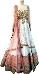 London Beauty Women's Net Lehenga Choli (LBC000PINKWHITECHOLI1_WHITE & PINK_Free Size)