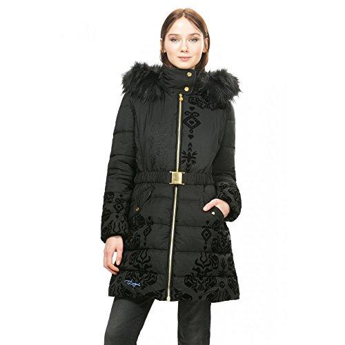 DESIGUAL - Giacchetto piumino cappotto con cappuccio da donna spirit 36 (xs) nero