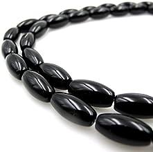 BRCbeads Gorgeous Black Onyx Olivary Shape Gemstone Loose Beads 8x16mm Approxi 15inch 25pcs 1 Strand