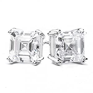Sterling Silver Square Asscher Cut Unisex Stud Earrings