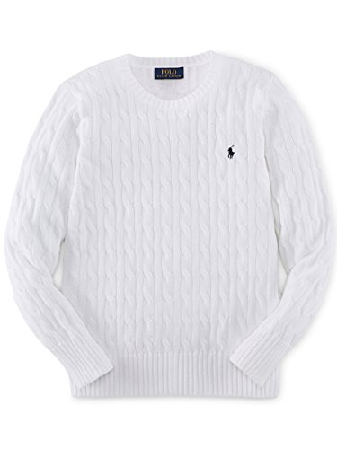 ラルフローレン ケーブルニット セーターメンズ USボーイズサイズ RALPH LAUREN/ポロ・ラルフローレン 正規 Boys Cable-Knit Cotton Sweater (65353496) 並行輸入品 (BOY'S XL(日本サイズL相当), WHITE)