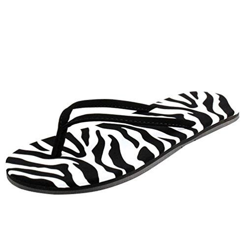 Baymate Donna Semplice Stile Infradito Casuale Spiaggia Pantofole Sandali Zebra 37