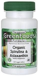 Swanson Greenfoods Organic Spirulina & Astaxanthin (120 Vegetarian Tablets)