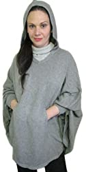Belle Fare Grey 100% Cashmere Hooded Knit Poncho Cape
