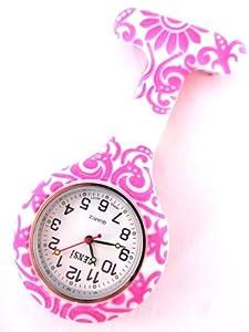 Reloj de Silicona para Bata de Enfermera con Estampado de Remolinos y Flores y Pila de Repuesto por Bullahshah Traders Ltd