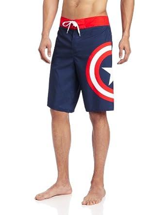 Marvel Men's Captain America Logo Board Short, Blue, 38 inch