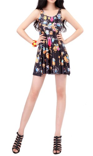 Women'S Pleated Knee-Length Cartoon Pattern Reversible Skater Dress