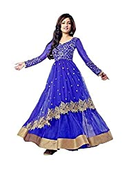 Women's Net Semi Stitched Blue Fancy Partywear Gown