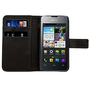 kwmobile Wallet Case Hülle für Huawei Ascend Y300 - Cover Flip Tasche mit Kartenfach und Ständerfunktion in Schwarz