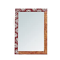 999Store handmade wooden decorative bathroom mirror red flowers (20x 14 Inches)