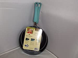 Paula Deen Twin Pack Skillets Porcelain Nonstick Aqua