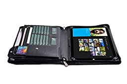 Premium Organizer Padfolio with Extra Storage for MicrosoftSurface3,Black