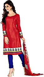 Lovely Look Red Printed Dress Material