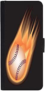 Snoogg Baseball Fire Designer Protective Phone Flip Case Cover For Intex Eco 102E