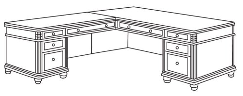 Office Furniture - Executive L-Shaped Desk with Left Return - Executive Office Furniture / Home Office Furniture - 7480-56