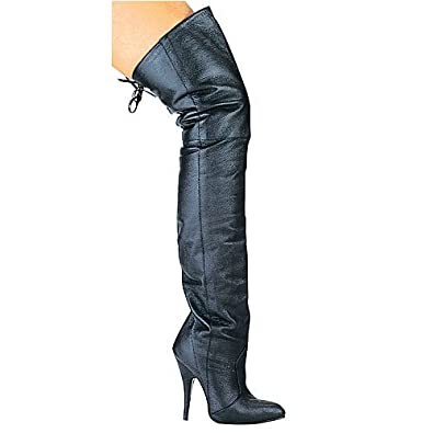 "Ellie Shoes Women 8899 5"" Heel Leather Thigh High Boot"