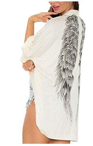 ZEARO Donne Kimono Cardigan lungo bianco camicetta Wings spiaggia cappotto scialle Tops