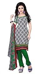 Craftliva Black-White & Green Printed Crepe Dress Material